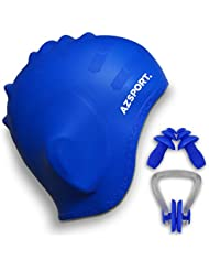 AZSPORT Swim Cap, Nose Clips And Ear Plugs Included, Blue