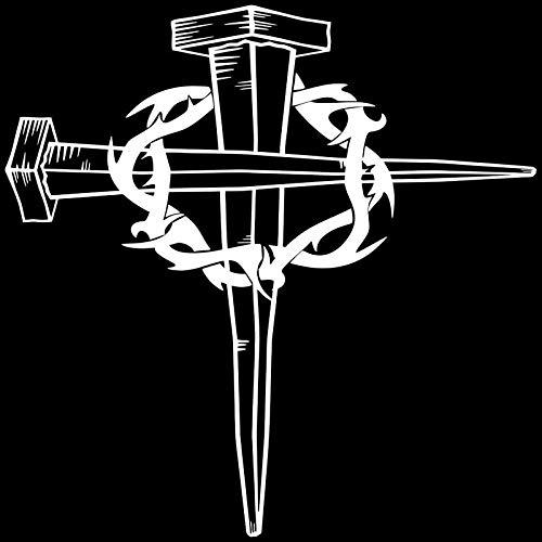 haotong11 16 * 16 cm Jesus Christus Kreuz Dornenkrone Gott Körper Dekoration Klassische Vinyl Aufkleber Auto Aufkleber 5 stücke (Kreuz Mit Dornenkrone)