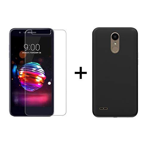 TBOC Pack: Schwarz Gel TPU Hülle + Hartglas Schutzfolie für LG K10 (2018) - LG K11 (5.3 Zoll) - Ultradünn Flexibel Silikonhülle. Panzerglas Bildschirmschutz in Kristallklar in Premium Qualität.
