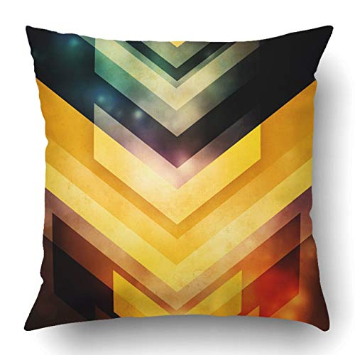 RAINNY Throw Pillow Covers Black Glow Abstract Orange Energy Motion Dynamic Future Shine Space Stripes Polyester Square Hidden Zipper Decorative Pillowcase 16x16 inch