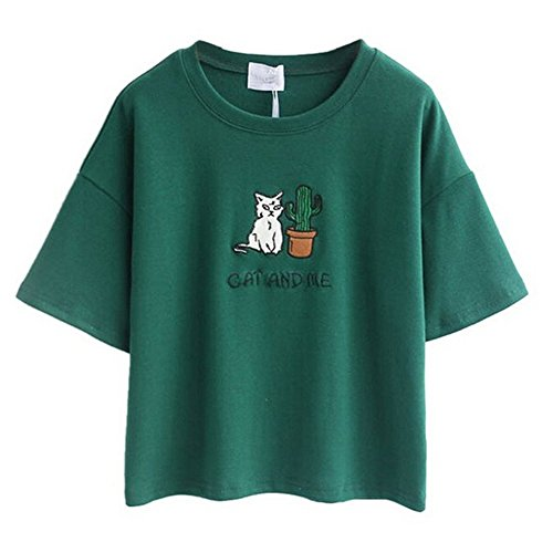 arrowhunt-womens-embroidery-letter-cat-short-sleeves-crop-tops-green