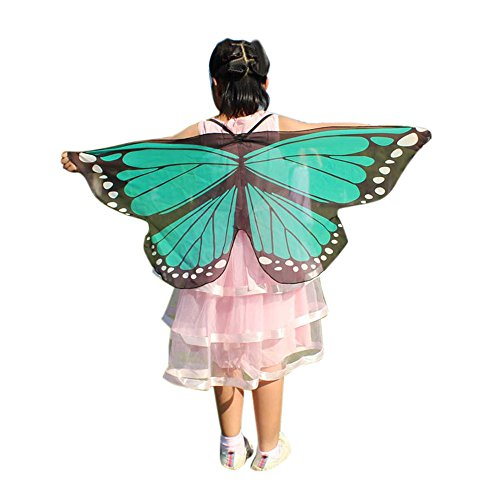 Hmeng Halloween Party Soft Fabric Kinder Monarchfalter Flügel Schal Cape Schal Stoff Tanz Flügel Dress up Kostüm Zubehör (Grün)