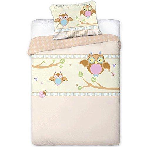 Baby Bettwäsche Kinderbettwäsche 100x135/40x60cm Kleinkind Motiv Eule 2-teilige Garnitur für Kinderbett Bett- und Kissenbezug