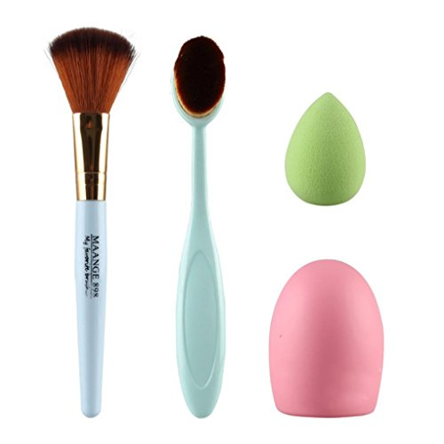 Tonsee 4pcs pinceau de maquillage Maquillage aléatoire éponge pinceau de maquillage Cleaner Foundation Brush Bleu