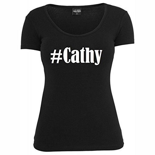 T-Shirt #Cathy Hashtag Raute für Damen Herren und Kinder ... in den Farben Schwarz und Weiss Schwarz
