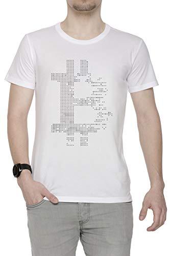 Erido Bitcoin Criptomoneda Criptomoneda Hombre Camiseta Cuello Redondo Blanco Manga Corta Tamaño XL Men's White T-Shirt X-Large Size XL