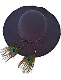 Sombrero Mujer Fieltro Otoño Invierno Estilo Británico Vintage Ala Ancha  con Lazo y Pluma Pavo Real c7274871425