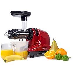 JuiceMe DA 1000 - Extracteur de jus - Extracteur jus Horizontal - Rotation Lente - Silencieux - Multifonction - Simple à Nettoyer - Sans PBA - Couleur Rouge