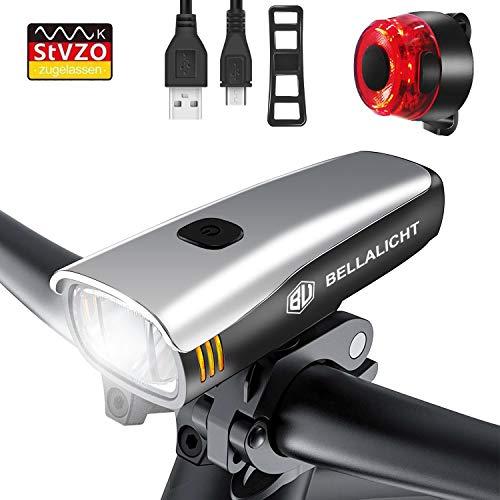 BELLALICHT Fahrradbeleuchtung, StVZO-geprüfte Fahrradbeleuchtung mit wiederaufladbarem Li-on-USB-Akku, Laufzeit 6 Stunden, wasserdichtes Rücklicht-Set
