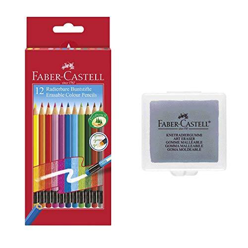 Faber-Castell 116612 Radierbare Buntstifte mit Gummitip, 12er Kartonetui (12er + Knetradierer)