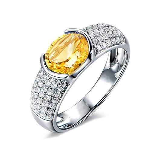 Anyeda Ehering für Mädchen Frauen Bandring 925 Silber Ringe Damen Oval Shape Gelb Cz Ring Silber Ringgröße 49 (15.6)