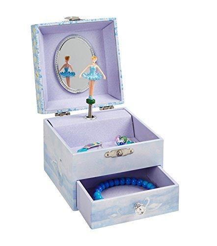 JewelKeeper Spieluhr Ballerina Schmuckschatulle, Stern und Schwan Design mit Ausziehfächern - Schwanensee Melodie