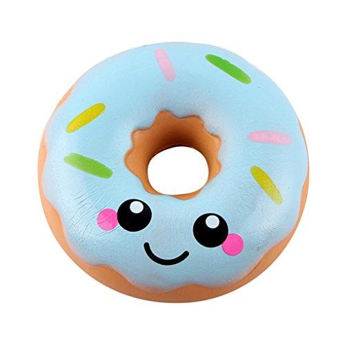 DRESS_start 11cm Spielzeug Slow Rising Kawaii Milch Box Squishy Spielzeug schöne Donut Creme duftenden Squishy langsam steigende Squeeze Spielzeug Sammlung (Blau)