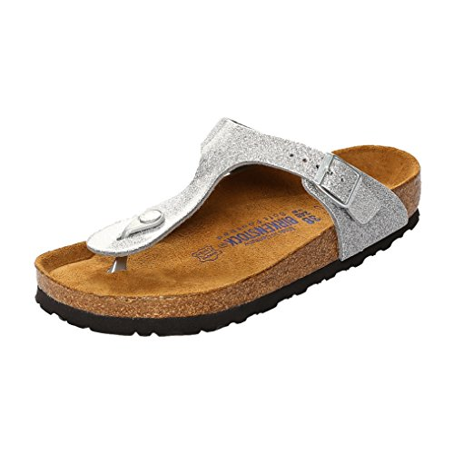 Birkenstock Gizeh Leder Softfootbed, Tongs mixte adulte gris