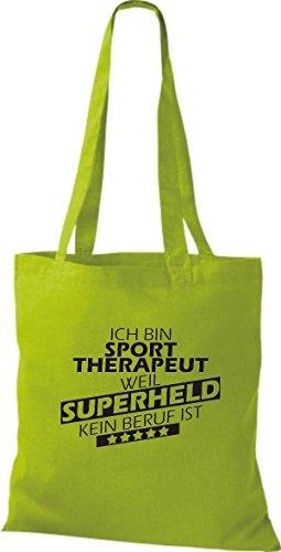 Shirtstown Stoffbeutel Ich bin Sporttherapeut, weil Superheld kein Beruf ist kiwi