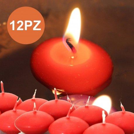 Tradeshoptraesio - 12 x candeline galleggianti rosse rosso matrimonio decorazione tealight candele