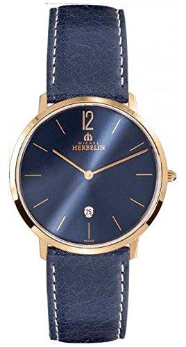 Reloj para hombre Michel Herbelin - 19515 / PR15BL - CITY - Fecha - Correa de cuero - Azul Marino y chapado en Oro Rosa