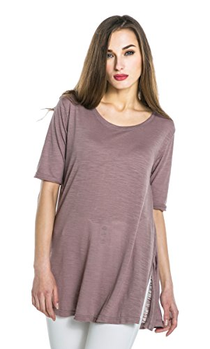 Urban GoCo Femmes Manches Courtes Couleur Unie T-Shirts Tees Chemisiers Occasionnels Tops Rose
