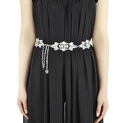 Phenovo Womens Bling Crystal Rhinestone Flower Waist Chain Belt Silver + White