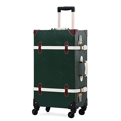 UNITRAVEL Koffer Retro Reise 55 Zentimeter 31 Liter 4 Räder Dunkelgrün Nummernschloss