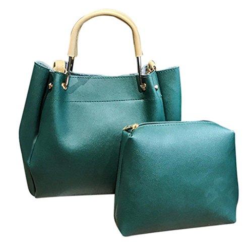 Damen Handtaschen, Huhu833 Mode Frauen Leder Schultertasche mit Corssbody Tasche & Handtasche + Clutch Wallet Grün