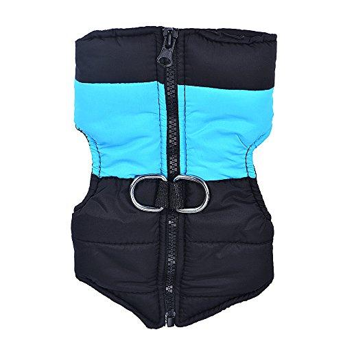 Saingace Hundbekleidung Hunde Kleider Haustier Kostüm Bekleidung Small Medium Hundewinter gesteppte Puffer Puffa Weste Gurtzeug Jacke (XL, Blau)