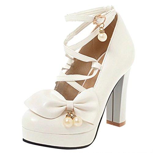 AIYOUMEI Blockabsatz High Heel Pumps mit Schleife und Perlen Cosplay Schuhe Damen