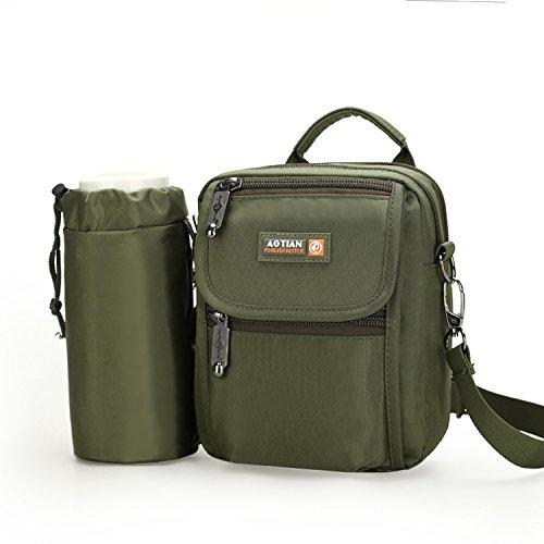 Outreo Borse a Spalla Borsa Tracolla Uomo Borsello Viaggio Sacchetto Vintage Borsetta per Sport Messenger Bag Tablet Bicicletta Verde