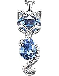 d2dbb724731f CJH Encantador Fox Collar Crystal clavícula corto colgante decorativo collar  de la joyería azul marino
