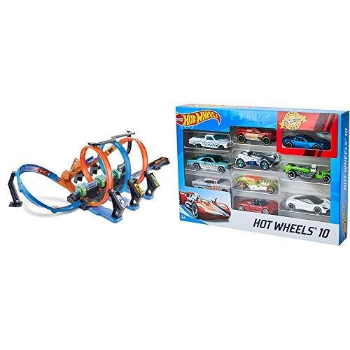 Hot Wheels FTB65 - Action Korkenzieher Crash Trackset, Auto Rennbahn mit 3 Loopings und Beschleuniger &  Wheels 54886 1:64 Die-Cast Auto Geschenkset
