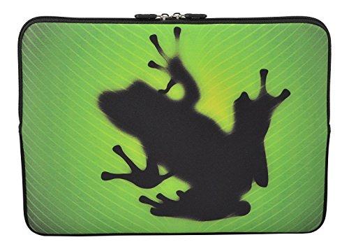 MySleeveDesign Laptoptasche Notebooktasche Sleeve für 10,2 Zoll / 11,6-12,1 Zoll / 13,3 Zoll / 14 Zoll / 15,6 Zoll / 17,3 Zoll - Neopren Schutzhülle mit VERSCH. Designs - Frog [15]