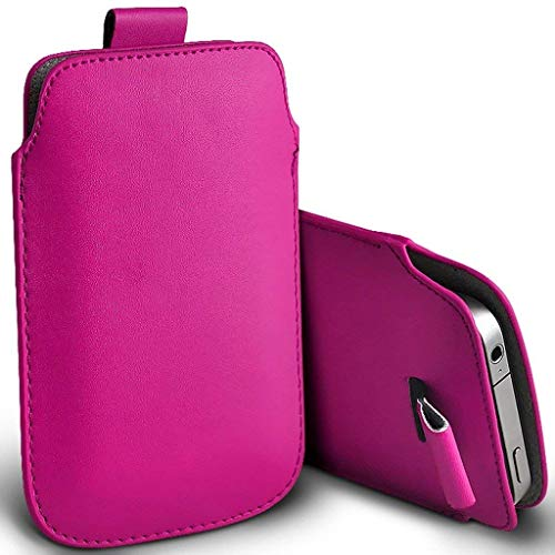 Price comparison product image I-Sonite (Hot Pink) Premium Slip In Pull Tab Sleeve Faux Leather Pouch Case Cover For Nokia Lumia 635 [ Large ]