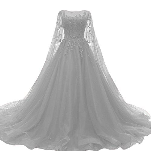 O.D.W Damen Tuell Spitze Vintage Brautkleider Lange Boho Rustikale Hochzeitskleider (Silber, 46)