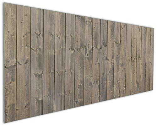Wallario Küchenrückwand aus Glas, in Premium Qualität, Motiv: Holzpaneelen in grau braun - Holzmuster mit Maserung | Spritzschutz | abwischbar | pflegeleicht