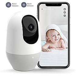 Nooie Cámara IP 1080P, Cámara Vigilancia WiFi Interior Inalámbrico, con Micrófono y Altavoz, Visión Nocturna, Detección de Movimiento, Seguridad para Bebé y Mascotas, Compatible con iOS, Android