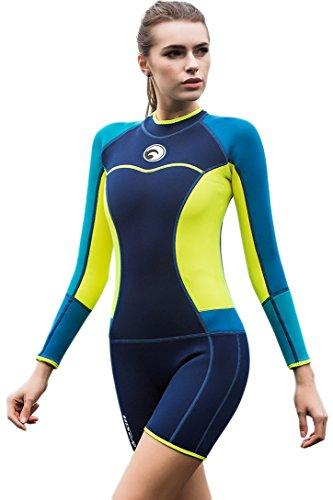 Micosuza Neoprenanzug Damen Shorty 1.5MM Surfanzug Tauchanzug Wassersport (1,5 Mm Neoprenanzug Shorty)