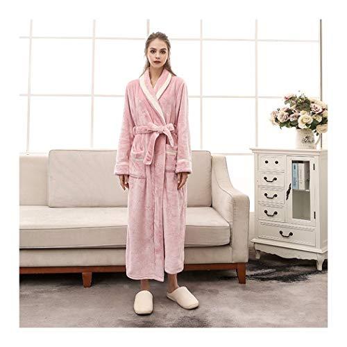 Thermische Jungen Schlafanzug (GAOHUI Meine Damen Winter Home Casual Thermisch Gewirke Flanell Bademantel Rein Lange Ärmel Dicker Paar Schlafanzüge, Pink Lady, XL)