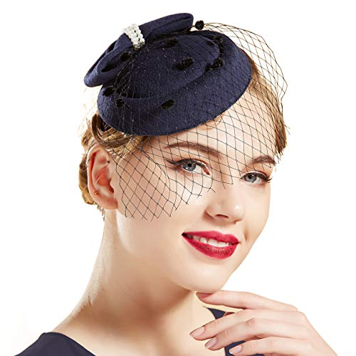 Kostüm Hut Fascinator - Coucoland Damen Fascinators Hut mit Perlen Schleife Mesh Hochzeit Braut Elegant Fascinator Haarreif Englische Cocktail Tee Party Damen Fasching Kostüm Accessoires (Navy Blau)