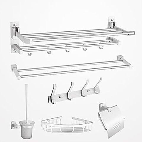 Accesorios de baño QMM, conjunto de accesorios de baño, 6 pieza contemporáneo cromo conjunto de hardware de aluminio, sistema de colección de