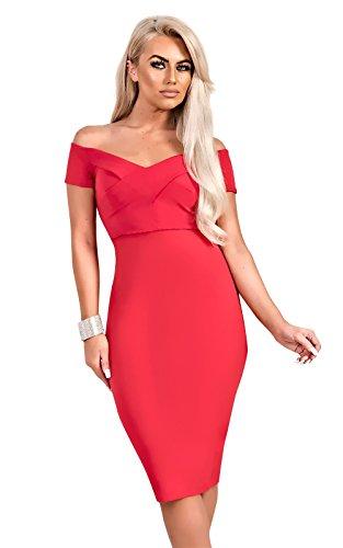 Women's Ladies Stunning Off Shoulder Glam Celeb dress Red