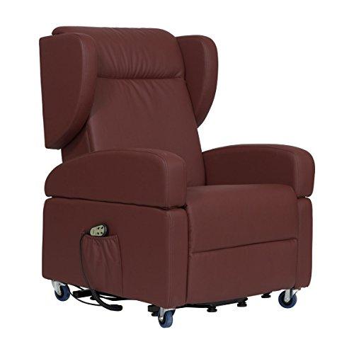 Sessel mit Aufstehhilfe und 2 Motoren Tirol. Abnehmbare Armlehnen und Seitenkopfstützen. Bezug aus bordeaux-braunem Kunstleder.