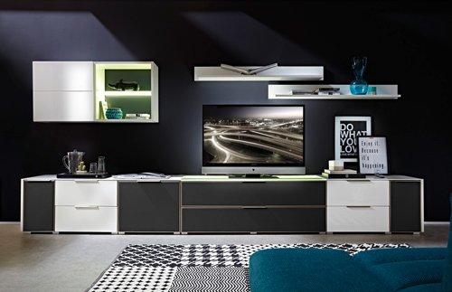 8-tlg Wohnwand in Hochglanz weiß/grau mit Akustik-Fächern und LED-Beleuchtung, Gesamtmaß B/H/T ca. 383/170/51 cm - 3