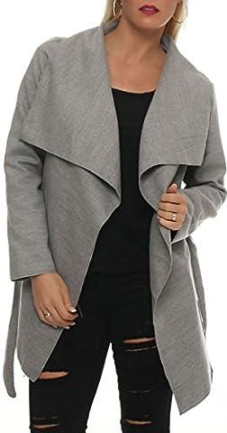 malito kurzer Mantel mit Wasserfall-Schnitt Jacke 3041 Damen One Size (hellgrau)