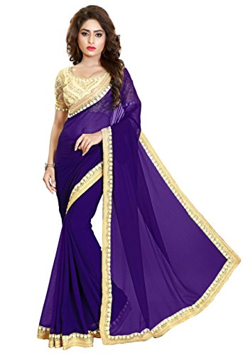 Nivah Fashion Women's Chifon Embroidery Saree (Blue)