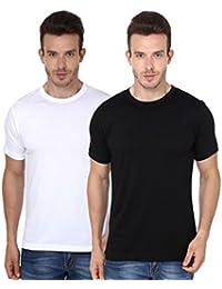 Scott Men's Basic Cotton Round Neck Half Sleeve Solid T-shirts - Pack of 2
