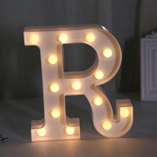 Comfot 26 Buchstaben Licht 10 Zahlen Licht LED dekorative Licht Sign Alphabet A-Z, 0-9, & Kunststoff Nacht Lampen, Beleuchtung bis Wörter, für Geburtstag Hochzeit Bar, Wandbehang , letters - r