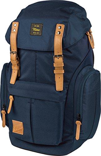 Daypacker Alltagsrucksack im Retro Look mit Gepolstertem Laptopfach, Schulrucksack, Wanderrucksack oder Streetpack, Größe und Schnitt ideal für Frauen, Indigo