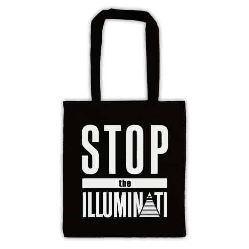 Stop The Illuminati-Tavola da Slogan Tote Bag Nero