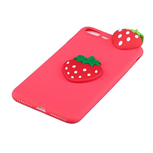 Cover iPhone 7 Silicone, LuckyW TPU Silicone Transparent Custodia per Apple iPhone 7 7S (4.7 pollici) 3D Protettivo Shell Clear Limpido Bumper Case Cover Ultra Sottile Ultra Slim Thin Flessibile Skin  Fragola