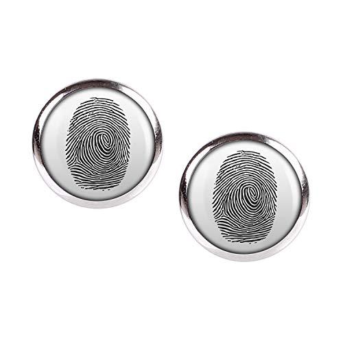 Mylery Ohrstecker Paar mit Motiv Finger-Abdruck Finger-Print Linien silber ()